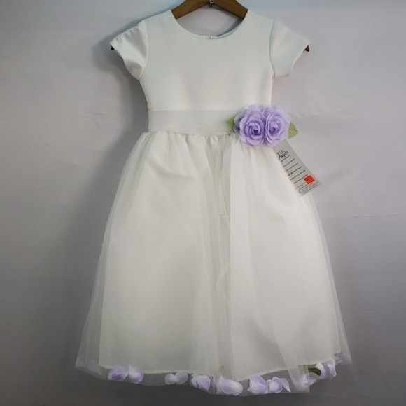 Lavender by Us Angels Girls Lace Cap Sleeve Stripe Organza A-line Dress Size 14